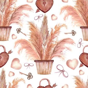 Modelli senza cuciture con erba di pampa in vasi, chiavi, cuori e fiocchi in stile boho su sfondo bianco isolato. illustrazione dell'acquerello.