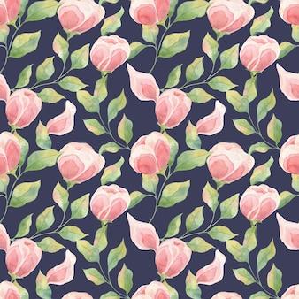 Modelli senza cuciture con boccioli di fiori rosa e foglie