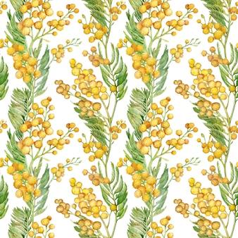 Modello primavera senza soluzione di continuità con rametto di mimosa. acquerello floreale giallo