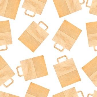 Seamless texture di sacchetti biodegradabili artigianali su uno sfondo bianco.