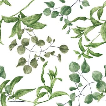 Motivo botanico verde piastrellabile senza soluzione di continuità
