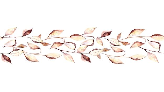 Bordo senza giunte dell'acquerello con ramoscelli di erbario e foglie secche, fiori secchi su uno sfondo bianco, pittura ad acquerello per la progettazione di cartoline, packaging, design