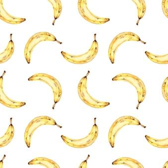 Seamless pattern acquerello con banane, pittura ad acquerello su uno sfondo bianco con frutta tropicale.