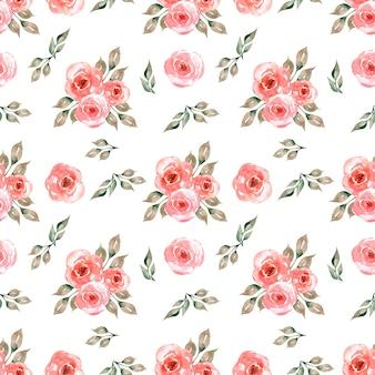 Seamless pattern acquerello con delicati fiori in rosso, foglie verdi grigie.