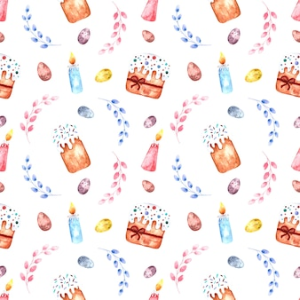 Seamless pattern acquerello con dolci pasquali, rami di salice, uova di pasqua e candele su uno sfondo bianco.