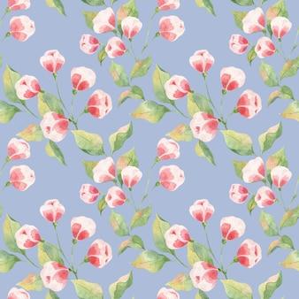 Seamless pattern acquerello con foglie verdi e boccioli rosa su sfondo blu, ramoscelli di mela e boccioli