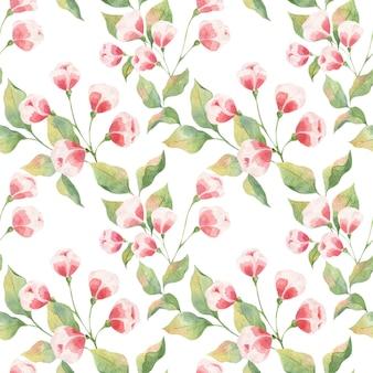 Seamless pattern acquerello con foglie verdi e boccioli rosa su sfondo bianco, ramoscelli di mela e boccioli