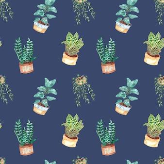 Seamless pattern acquerello con piante d'appartamento su uno sfondo blu, illustrazione dell'acquerello per la casa