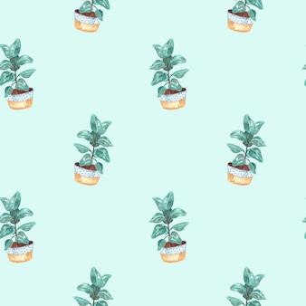 Seamless pattern acquerello con piante d'appartamento-ficus su uno sfondo blu, illustrazione dell'acquerello per la casa