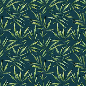 Reticolo senza giunte dell'acquerello con grandi rami e foglie di bambù su uno sfondo scuro