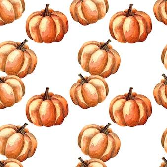 Seamless pattern acquerello con una zucca arancione su sfondo bianco, illustrazione ad acquerello con verdure