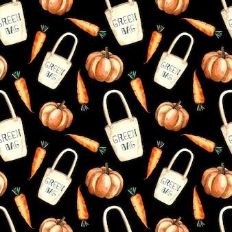 Seamless pattern acquerello con shopping bag e verdure, pittura ad acquerello su sfondo nero, zucca, carota.