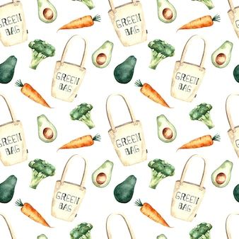Seamless pattern acquerello con shopping bag e verdure, pittura ad acquerello su uno sfondo bianco, carote, broccoli, avocado.