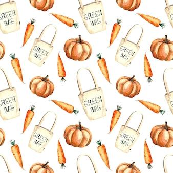 Seamless pattern acquerello con shopping bag e verdure, pittura ad acquerello su uno sfondo bianco, zucca, carota.
