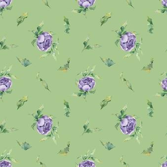 Un modello acquerello senza soluzione di continuità con una varietà di fiori e foglie di peonia lilla su sfondo verde green