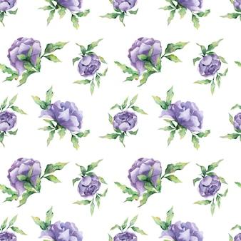 Un motivo acquerello senza soluzione di continuità con una varietà di fiori e foglie di peonia lilla su sfondo bianco