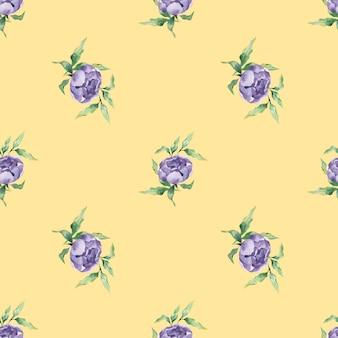 Un modello acquerello senza soluzione di continuità con una varietà di fiori e foglie di peonia lilla su sfondo giallo yellow