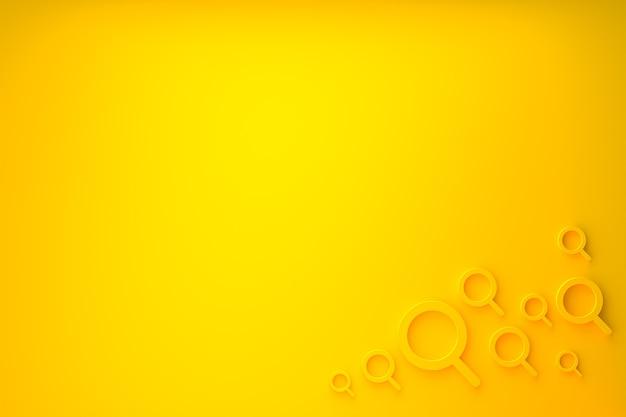 La barra di ricerca e la ricerca di icone 3d rendono il design minimale su sfondo giallo
