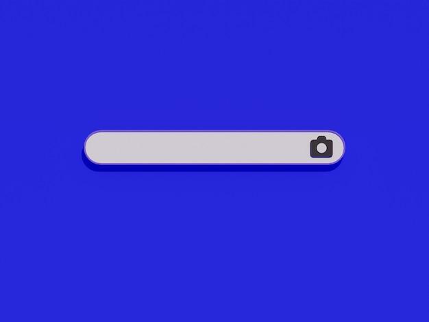 Immagine della barra di ricerca con l'icona della fotocamera e sfondo blu nel design 3d