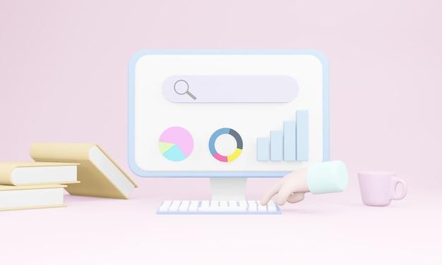 Pagina web della barra di ricerca ottimizzazione seo 3d, analisi dei dati web e concetto di marketing seo. rendering 3d
