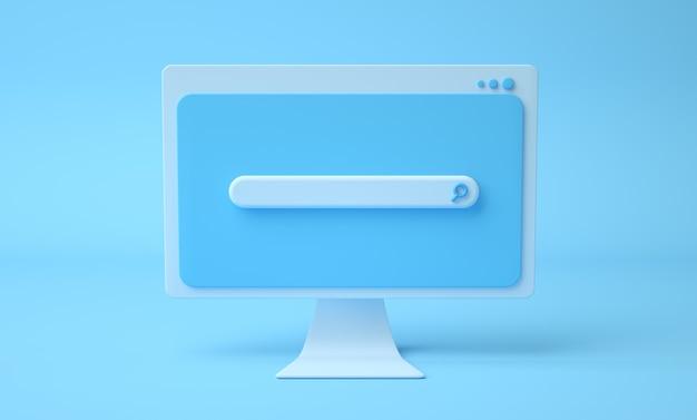 Pagina web della barra di ricerca sullo schermo del computer dei cartoni animati, sfondo blu. 3render