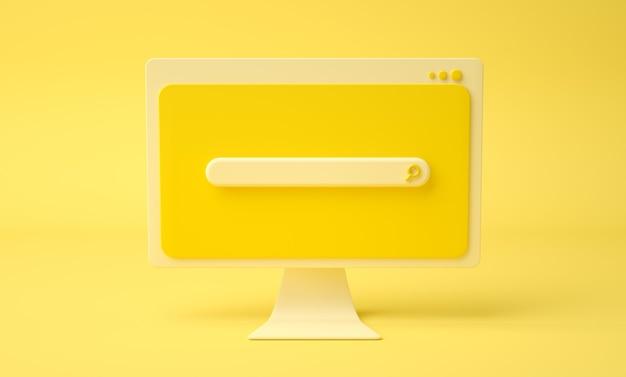 Pagina web della barra di ricerca sullo schermo del computer dei cartoni animati, sfondo giallo. rendering 3d