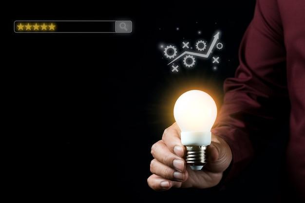 Ottimizzazione per i motori di ricerca idea di concetto fotografico a bassa luminosità per pubblicità aziendale