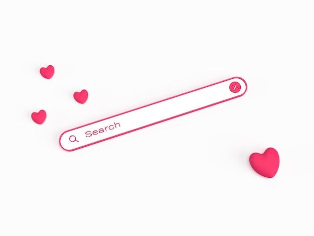 Cerca nel browser l'amore con il cuore per il concetto romantico 3d reso