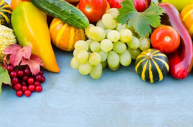 Frutta e verdura di stagione vendemmia autunnale.