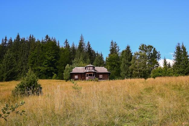 Casa abbandonata isolata in montagna in estate su uno sfondo di alberi verdi ed erba