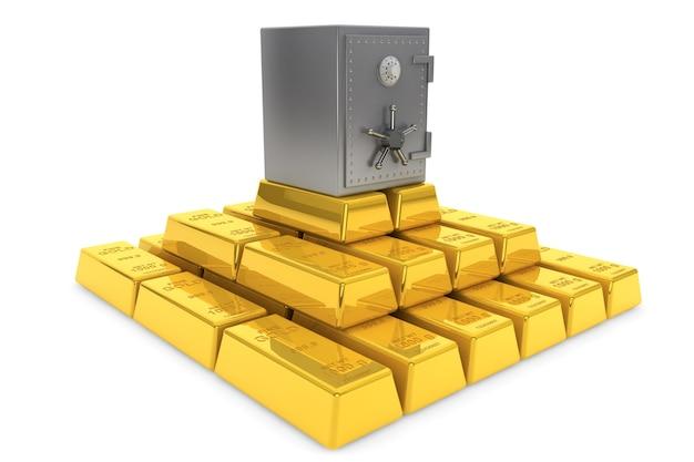 Concetto sicuro. pila di lingotti d'oro con caveau di una banca su sfondo bianco
