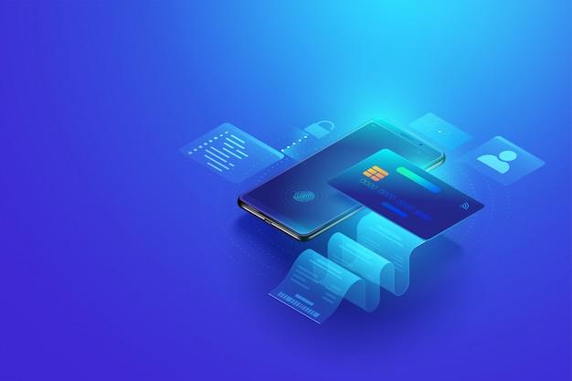 Pagamento online sicuro e internet banking tramite carta di credito sul cellulare