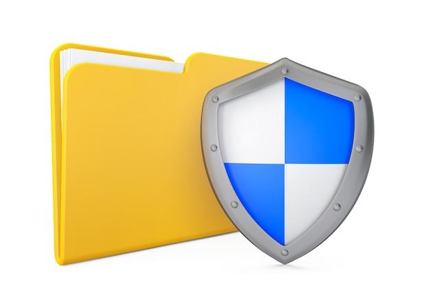 Concetto di sicurezza. icona cartella con scudo su sfondo bianco
