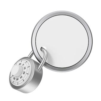 Concetto di sicurezza. distintivo lucido con spazio vuoto per il tuo segno bloccato da lucchetto su sfondo bianco. rendering 3d