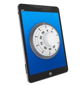 Concetto di sicurezza. tablet pc con lucchetto su sfondo bianco