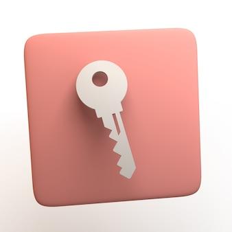 Icona di sicurezza con chiave isolata su priorità bassa bianca. app. illustrazione 3d.