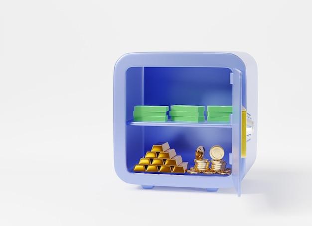 Cassaforte di sicurezza in metallo salva cassetta di sicurezza nel caveau con monete denaro rendering 3d