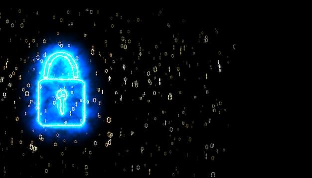Sicurezza blocco potere binario digitale paticle esplosivo sfocatura radiale nero isolato