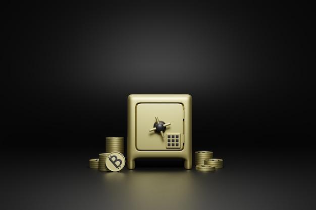 Cassetta di sicurezza di sicurezza e bitcoin su sfondo nero