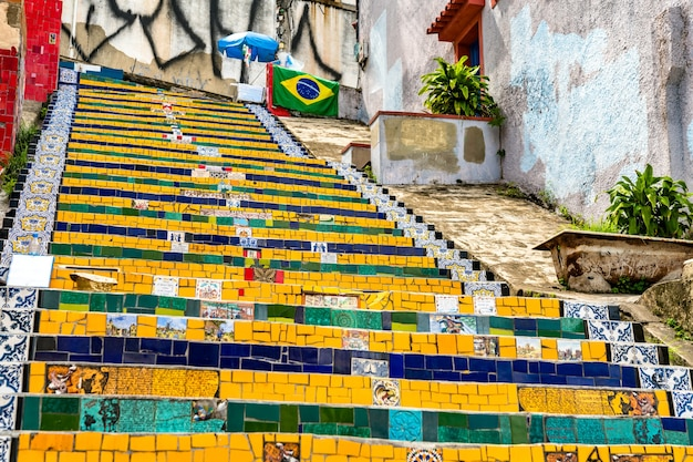 Selaron steps, un punto di riferimento a rio de janeiro, brasile Foto Premium