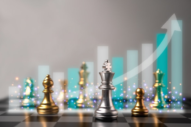 Messa a fuoco selettiva di scacchi e crescita grafico commerciale dietro gli scacchi.