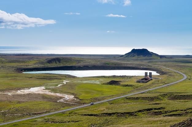 Area di seltun paesaggio aereo, penisola meridionale, reykjanes, islanda.