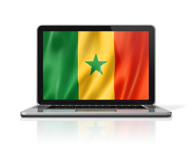 Bandiera del senegal sullo schermo del laptop isolato su bianco. rendering di illustrazione 3d.