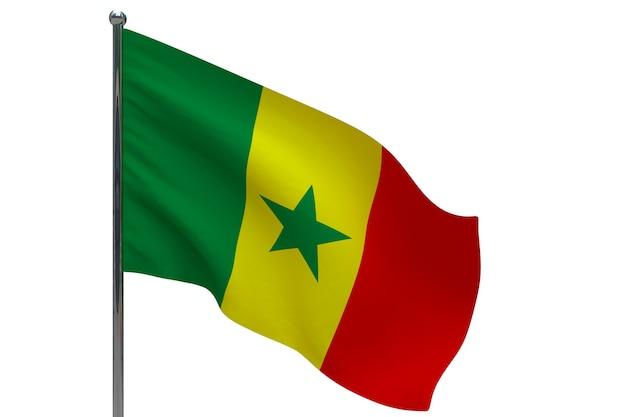 Bandiera del senegal in pole. pennone in metallo. bandiera nazionale del senegal 3d'illustrazione su bianco