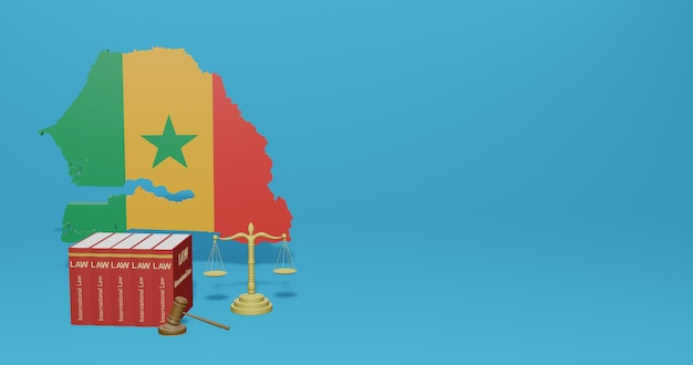 Legge senegalese per infografiche, contenuti dei social media nel rendering 3d