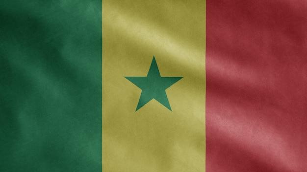 Bandiera senegalese che fluttua nel vento. primo piano del modello senegal che soffia, seta morbida e liscia.