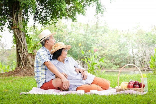 Le coppie asiatiche senior si siedono per i picnic e si rilassano nel parco