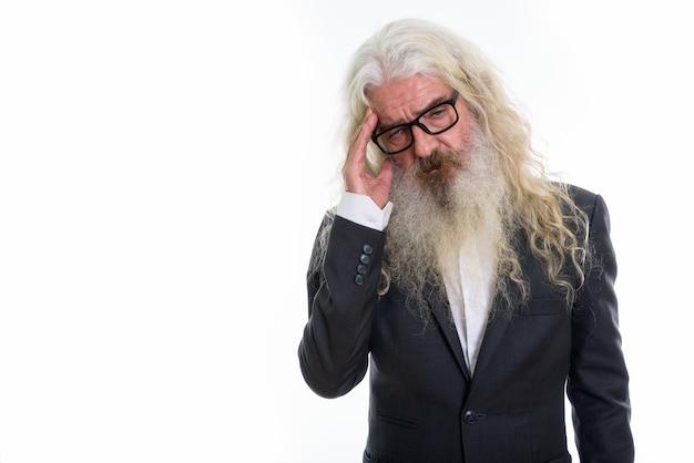 Anziano, barbuto, uomo affari, dall'aspetto, stressato