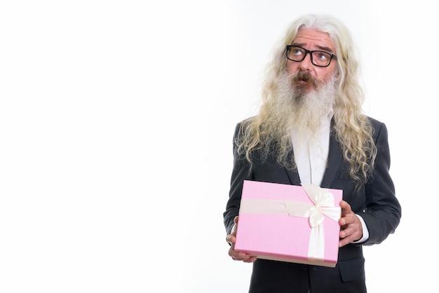 Pensiero dell'uomo d'affari barbuto senior