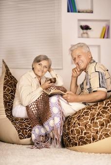 Coppia senior che beve tè seduti a casa